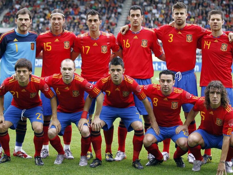 David Silva, Andres Iniesta, David Villa, Xavi, Carles Puyol, Iker Casillas, Sergio Ramos, Alvaro Arbeloa, Sergio Busquets, Gerard Pique, Xabi Alonso