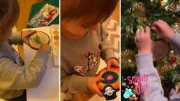 Kailani se prepara para Navidad y pinta sus esferas con acuarelas