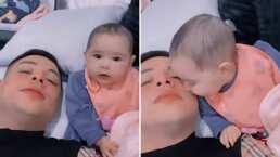 Geraldine, la hija de Eduin Caz, ya da besitos y su papá presume que le encanta dárselos a él