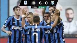 Inter de Milán amenaza al Lazio con goleada al Brescia
