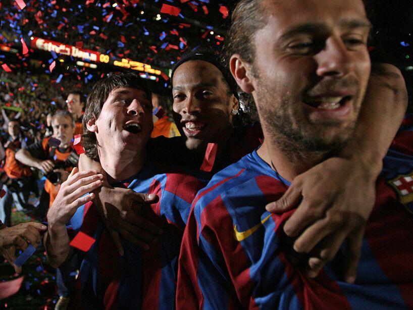 (L-R) Barcelona's Argentinian Messi, Bra