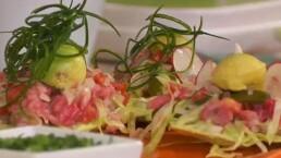 Receta: Tostadas de aguachile de camarón