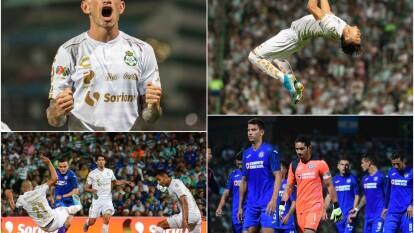 Santos Laguna mostró gran superioridad ante la Máquina de Cruz Azul y además de confirmar ser los mejores del torneo regular, eliminó a los celestes.
