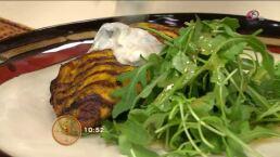 Cocina: Ensalada de pollo marinado con curry a la parrilla