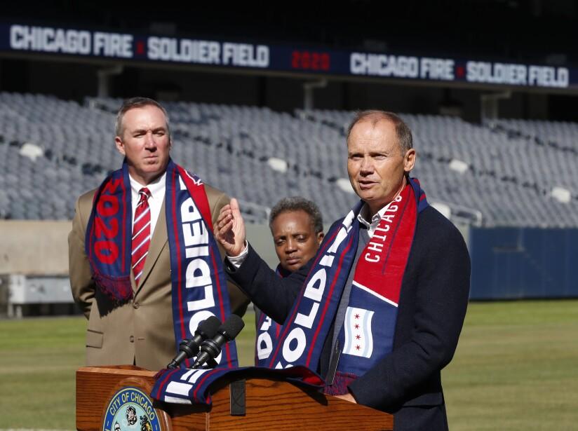 Michael P. Kelly, Lori Lightfoot, Joe Mansueto