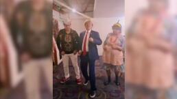 Donald Trump, el Indio Brayan y Doña Margara bailando una canción de Menudo