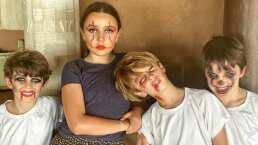Inés Gómez Mont se lució con sus hijos y les hizo asombroso maquillaje de terror