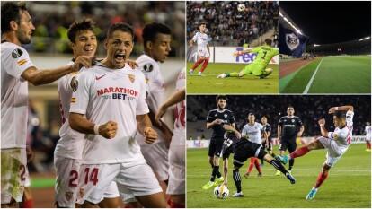 Con un golazo de tiro libre, Javier Hernández marcó el primer gol para el triunfo del Sevilla ante Qarabag.