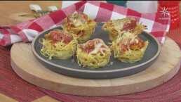 Canasta de espagueti: Combinación perfecta entre pasta, pollo dorado y salsa de tomate