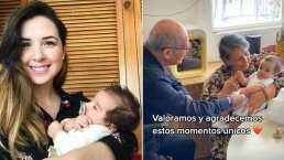 Tras dar a luz en medio de la pandemia, Fátima Torre presenta al pequeño Diego a sus abuelos