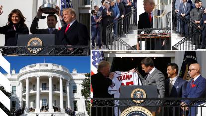 El actual campeón de la MLB se presentó en la Casa Blanca y mostraron su título obtenido en la pasada temporada.