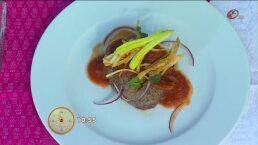 Cocina: Medallones de filete de res con tinga poblana