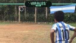 ¡Crack! El fan de Messi que 'la rompe' igual que el argentino