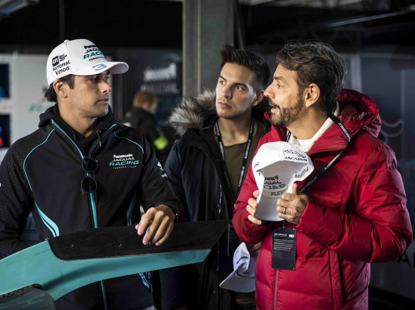 Eugenio y Vadhir Derbez con Nelson Piquet Jr.