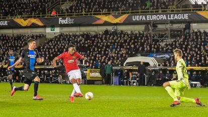 Anthony Martial anotó el gol para el 1-1 del Manchester United ante Brujas y su peligro estuvo latente en el arco de los belgas.