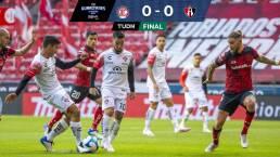¡Sin puntería! Atlas domina al Toluca y solo consigue el empate 0-0