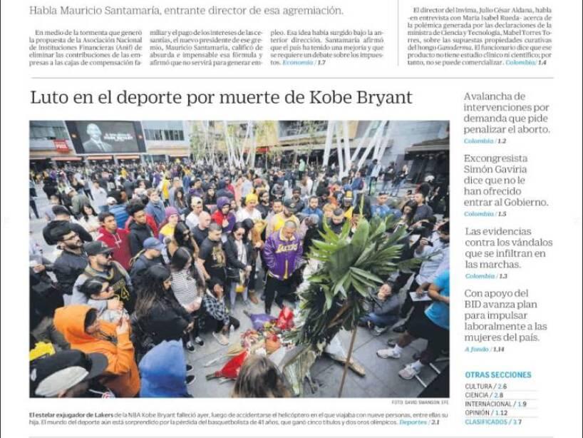 Kobe Bryant, periódico, EL TIEMPO.jpg