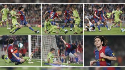 Una verdadera obra de arte la pintura que dibujó el argentino Lionel Messi en un partido de Semifinal de ida por la Copa del Rey aquel 18 de abril del 2007.