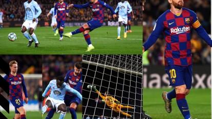 Con triplete de Lionel Messi y gol de sergio Busquets, el Barcelona gana y vuelve a tomar la cima del torneo.