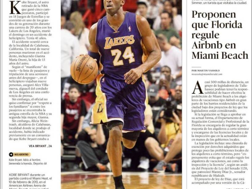Kobe Bryant, periódico, EL NUEVO HERALD.jpg