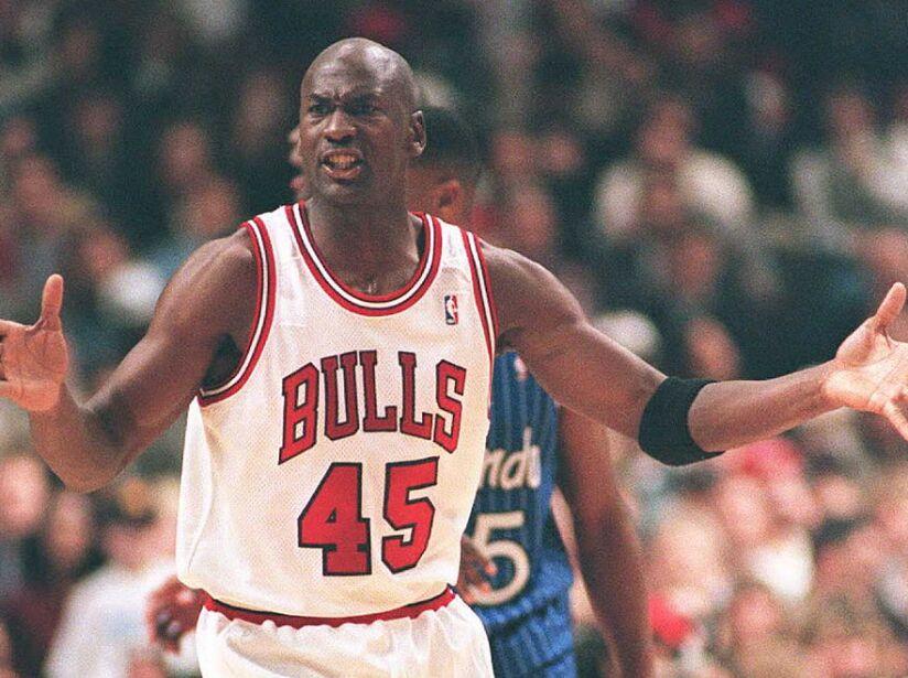 Basketball star Michael Jordan (C) of the Chicago