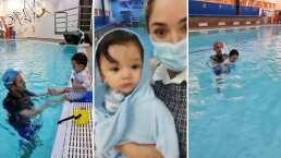 Sherlyn es la mamá más orgullosa; llevó a André a su primera clase de natación y no lloró para nada
