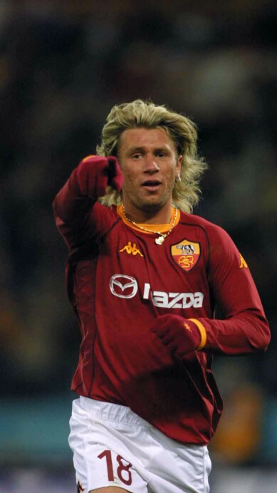 Antonio Cassano of Roma celebrates after scoring
