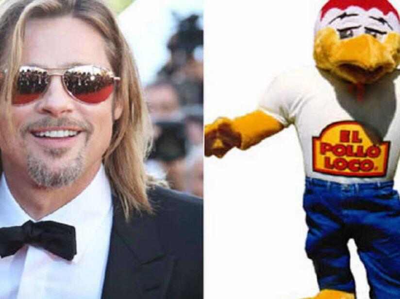 9. Brad Pitt: Antes de ser famoso, el esposo de Angelina Jolie trabajó como mascota de El Pollo Loco. ¡Qué oso!