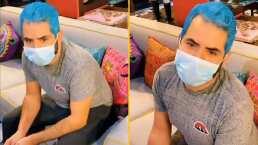 ¡Papá pitufo!: José Eduardo Derbez se pinta el cabello de color azul