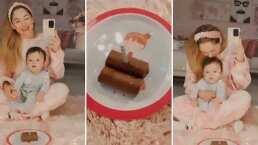 Sherlyn festeja su primer cumpleaños al lado de su hijo; juntos soplan la velita del pastel