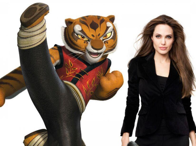 1. Angelina Jolie: Participó en Kung Fu Panda. La actriz le prestó su voz a la sensual y peligrosa Tigress.