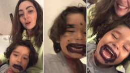 Diego, hijo de Ariadne Díaz, le roba los labiales a su mamá y decide maquillarse él solito (VIDEO)