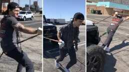 Video: Drake Bell jaló con sus manos una camioneta de más de media tonelada