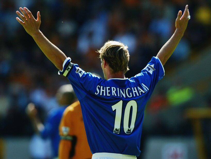 Teddy Sheringham of Portsmouth raises his arms