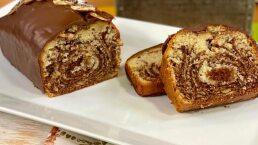RECETA: 'Panqué de plátano marmoleado con chocolate'