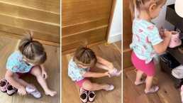 'Ya quedó, mamá': El dulce video de Kailani poniéndose ella solita sus zapatos