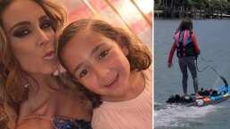 La hija mayor de Jacky Bracamontes y Martín Fuentes sorprende al surfear ¡ella sola!