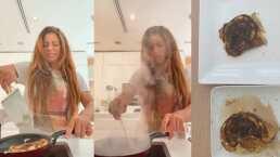Shakira prepara unos hot cakes y no le salen tan bien a pesar de las porras de sus hijos