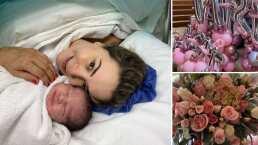 Tras haber dado a luz, Florencia de Saracho presume los arreglos con los que la recibieron en casa