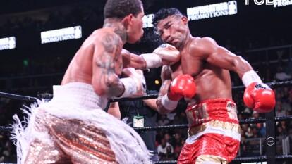 Gran pelea entre Davids y Gamboa. Gamboa se subió al ring con un pie fracturado y la victoria fue para Davids por nocaut.