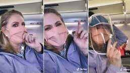 Erika Buenfil 'hace el oso' en un avión (VIDEO)
