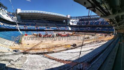 Continúan las obras de remodelación en el estadio del Real Madrid para contar con un mejor estadio, más moderno y más cómodo.