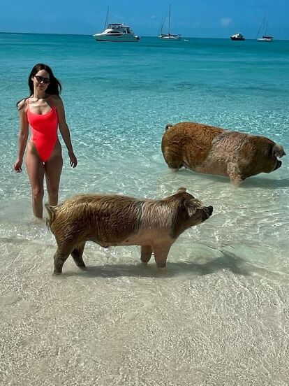 Camila Sodi una vez más se adueñó de las tendencias al presumir su increíble viaje por las Bahamas, el cual llamó la atención por el impactante traje de baño que lució y por las enternecedoras fotografías que compartió junto a un grupo de cerditos.