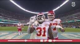 Darrel Williams acarrea el ovoide para llegar al touchdown