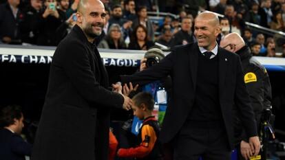 Pep Guardiola y Zinedine Zidane se saludaron con gusto antes del encuentro