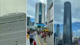 El momento en que un rascacielos de 70 pisos en China se tambaleó y la gente comenzó a correr en pánico