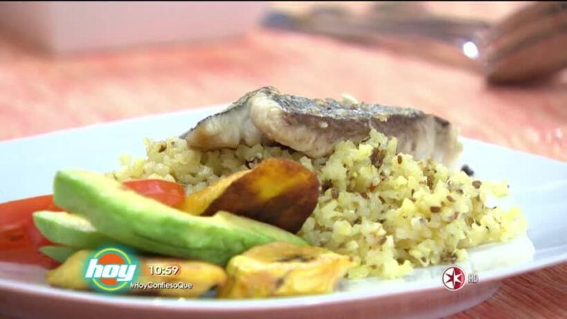 Receta: Arroz integral tostado con pescado