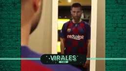 ¡Lástima! Tremenda parodia de Messi probándose otras camisetas