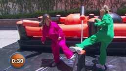 ¡Reto de gladiadoras!: Andrea Legarreta se enfrenta a Karla Gómez en prueba de equilibrio