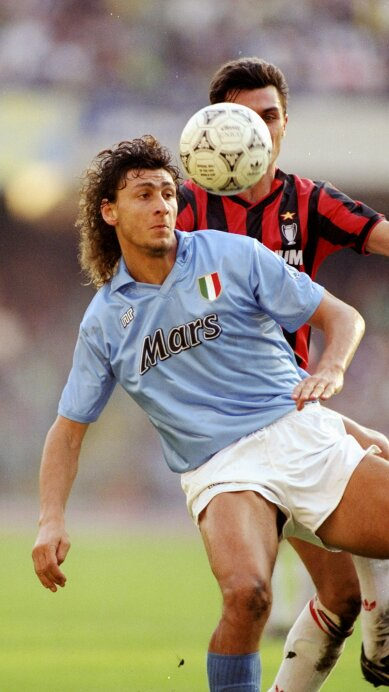 Andrea Silenzi of Napoli and Paolo Maldini of AC Milan